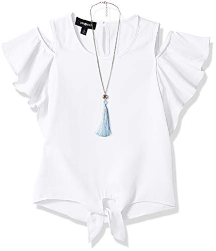 - Amy Byer Girls' Big Flutter Sleeve Cold Shoulder Top with Necklace, White, Small
