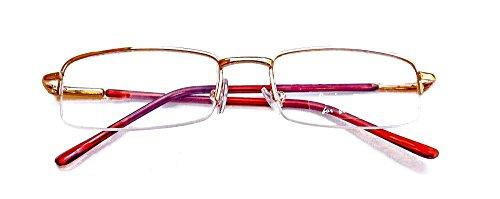 Classic Reading Glasses - (+2.00, Gold, Half Frame/Rim) - Eyeglasses for Women and Men - Metal - Spring Hinge Temple - Light Weight - Unisex - High Impact Low Scratch - Frames Glasses Eyesight