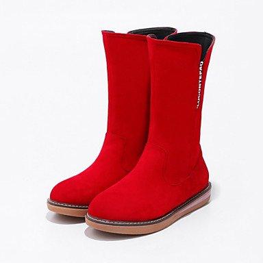 Botas Cremallera Confort De Mujer De Zapatos Toe Botas Mid Suede Vestido Plano Ronda Tacón Otoño Novia Novedad EU35 UK3 CN34 Bota Invierno Para Botas Calf Moda De US5 RTRY q7PRwxE0w