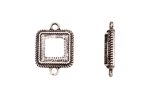- Link/Connector, Antique-Silver Plated Round Cornerd Rope Edge Square Cabochon Setting 24X17mm With 12X12mm Mount sold per 4Pcs/Pack (4Pack Bundle), Save $3