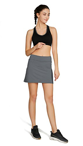 Cityoung Women's Casual Pleated Golf Skirt with Underneath Shorts Running Skortss grey1 by Cityoung (Image #4)