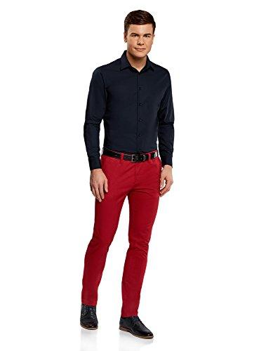 oodji Ultra Hombre Camisa Básica Extra Slim Azul (7900N)