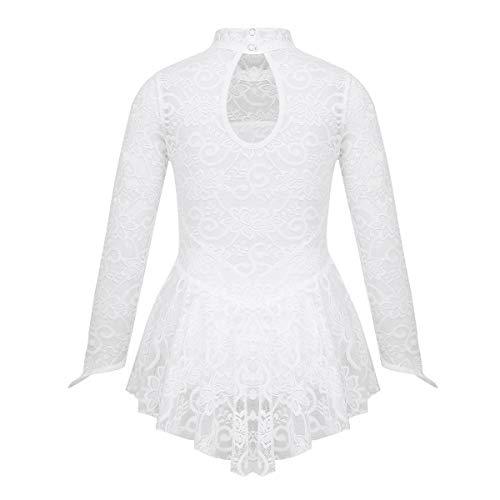 iEFiEL Kids Girls Long Sleeves Floral Lace Figure Ice Roller Skating Ballet Dance Leotard Dress Mock Neck White -