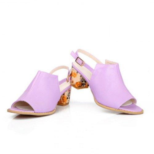 Carol Chaussures Mode Femmes Talon Chunky Peep Toe Sandales Violet