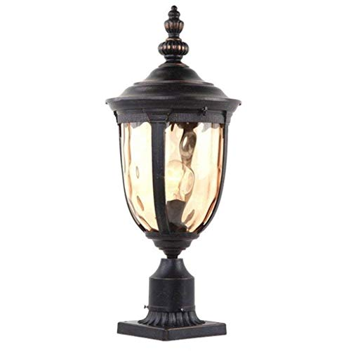 (XAJGW Vintage Outdoor Post Light Bronze 48cm Tall Fixture with Pier Mount for Deck Patio Entryway (Size : High 43cm))