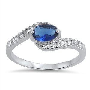 Joyara - Bague Femme - Argent Fin 925/1000 Bleu Saphir Oxyde de Zirconium