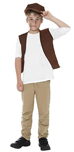 Smiffys Kids Victorian Urchin Kit, Vest and Cap, Brown, One Size, (Newsboy Costume)
