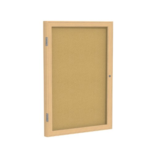 Case of 10, 24''x18'' 1-Dr Wood Frame Oak Finish Enclosed Bulletin Board - Natural Cork by Ghent