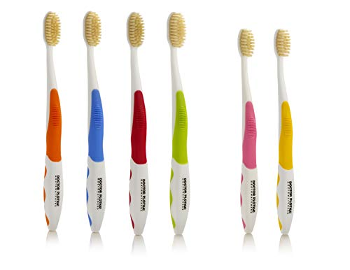 Doctor Plotkas Mouthwatchers Antimicrobial Floss Bristle Silver Toothbrush, Family, 6 Pack