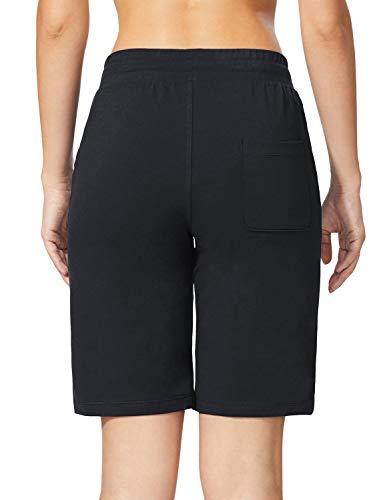 BALEAF Womens 10 Long Shorts Cotton Lounge Yoga Bermuda Walking Pajama Activewear Jersey Shorts Pockets