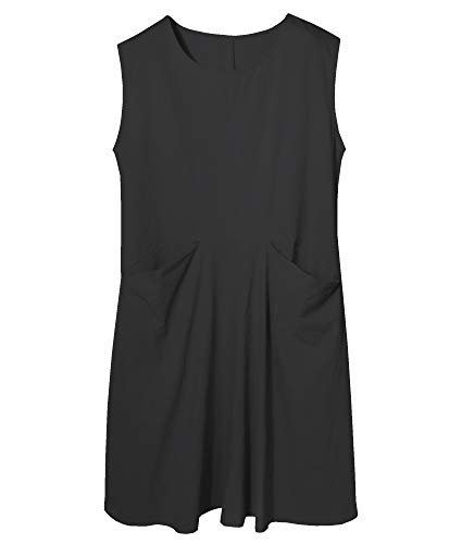 - SCOFEEL Women's Summer Linen Dress Midi Linen Shift Dresses with Pockets Plus Size Black