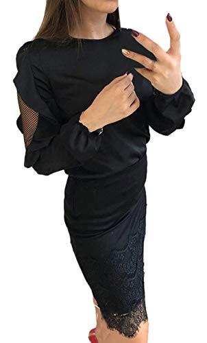 Cucitura Primavera Manica Shirt Maglietta Moda Rotondo Donne Casual Lunga Tops Fashion Tulle Bluse Camicie Cime Simple T Collo Maglie Autunno Nero a Giovane xZIq8pPn