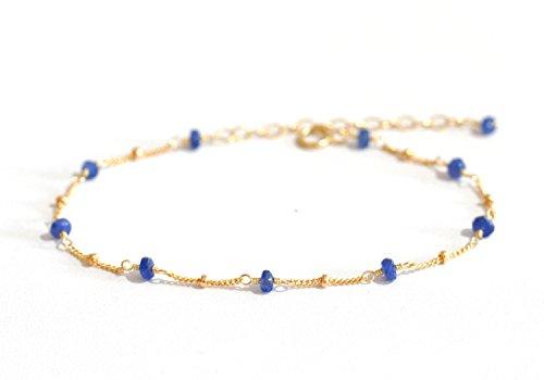 14K Gold. Blue Sapphire Bracelet in 14KYG , Delicate Gold Bracelet, September Birthstone Jewelry 14k Yellow Gold Sapphire Bracelet