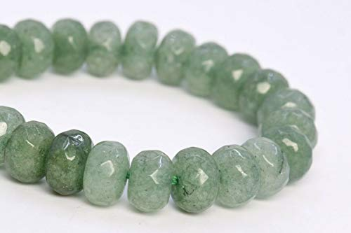 8x5MM Natural Celery Green Jade Beads AAA Faceted Rondelle Loose Beads 7.5""