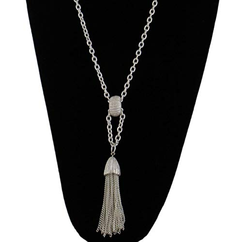 - White Metal Matte Silver Tone Fringe Tassel Necklace Long Chain 30