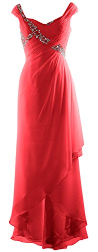 Dress MACloth Neck Maxi Mother High Bride Elegant Wassermelone of V Chiffon Gown Low Formal TTr84qR