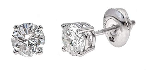AGS Certified 3/4 Cttw Brilliant-Cut Diamond Classic 4-Prong Screw-Back Stud Earrings (M-N Color, I1-I2 Clarity), 14K White Gold