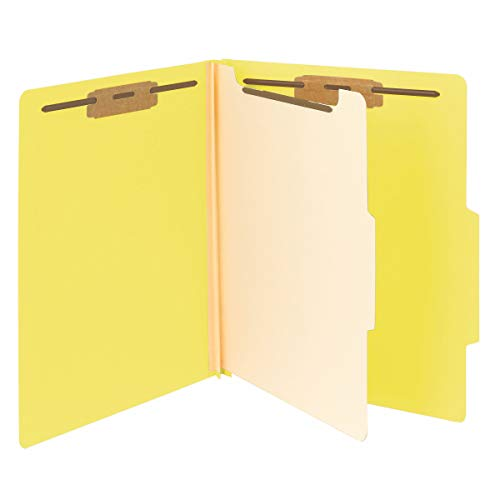 "Smead Classification File Folder, 1 Divider, 2"" Expansion, 2/5-Cut Tab, Letter Size, Yellow, 10 per Box (13704)"