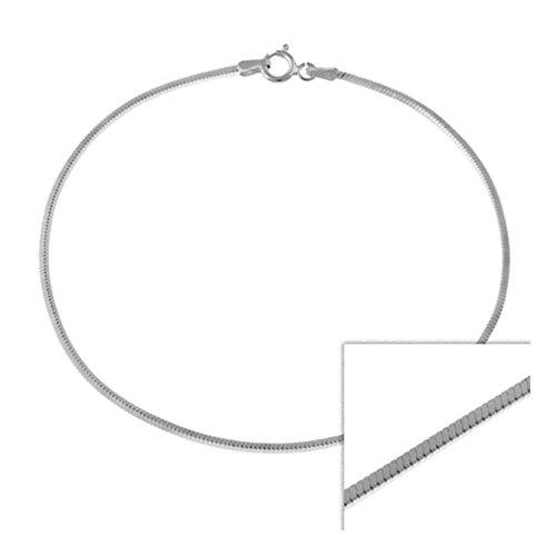 Glitzs Jewels Sterling Silver 1.3MM Italian Square Snake Chain Bracelet