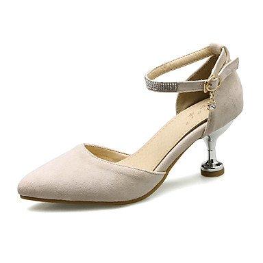 Talones de las mujeres Zapatos Primavera Verano Otoño Club de paño grueso y suave para oficina y del partido de la carrera y del vestido de noche gatito talón Rhinestone Hebilla Negro Rosa Beige Black