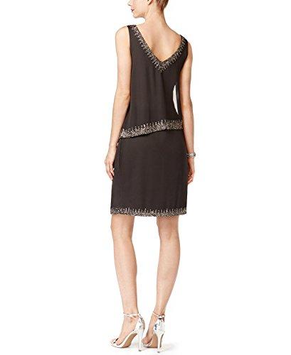 J Kara Beaded Trim Popover Dress