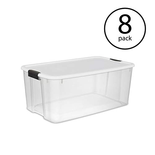 (STERILITE 116-Quart Clear Storage Box, 8-Pack)