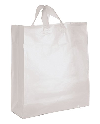 Jumbo Clear Frosted Plastic Shopping Bags - Case of 25