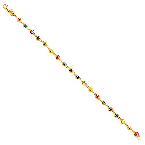 The World Jewelry Center 14k Yellow Gold Mixed Color Evil Eye Bracelet – 7″