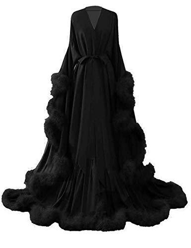 (yinyyinhs Women's Feather Bridal Robe Wedding Scarf Long Lingerie Robe Nightgown Bathrobe Sleepwear with Belt Size XXXL)