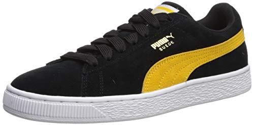 PUMA Men's Suede Classic Sneaker black-spectra yellow- white 11 M US