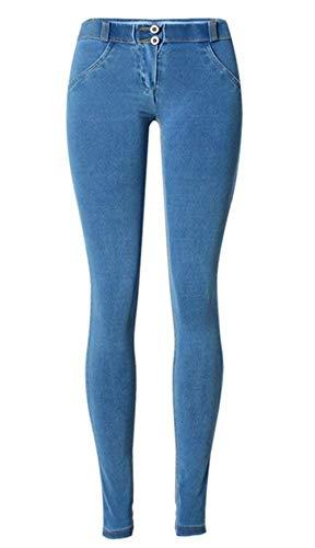 20 Azzurro Jeans Pants Anni Bassa Pantaloni A Skinny Aderenti Elodiey Denim Vita z64wCqPC