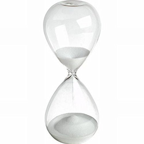 Large Fashion Colorful Sand Glass Sandglass Hourglass Timer Clear Smooth Glass Measures 60min 60 Minutes Home Desk Decor Xmas Birthday Gift (White, 60 Minutes)