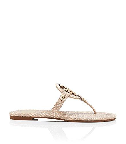 Tory Burch Miller 2 Polka Dot Leather Flip Flops Spring Dune/Gold TB Logo Sandal Beige (7)