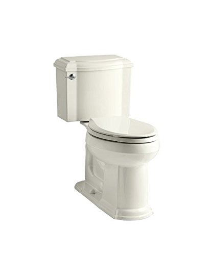 Two Piece Toilets Devonshire (Kohler 3837-58 Devonshire Comfort Height 1.28 TLT, EB Devonshire Comfort Height Twopiece Elongated 1.28 Gpf Toilet with AquaPiston Flush Technology & Left-Hand Trip Lever; Thunder Grey)