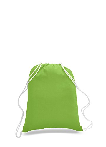 BagzDepot 100% COTTON Budget Friendly Sport Drawstring Bag Cinch Packs (Lime)