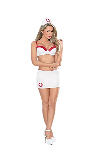 Escante Women's Nurse Underwire Bra and Satin Ribbon Skirt Set with Tie Hat, White/Red, Medium from Escante