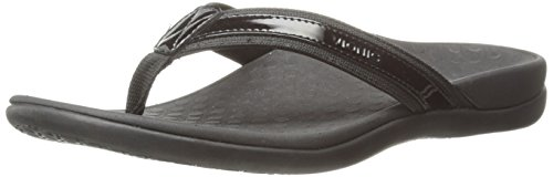 Vionic with Orthaheel Technology Womens Tide II Black Thong Sandal - 12 M