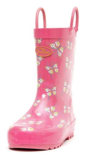 Outee Girls Kids Rubber Rain Boots Waterproof Shoes Printed Lovely Butterfly Pink Cute Print with Easy On Handles (Size 2,Pink)]()