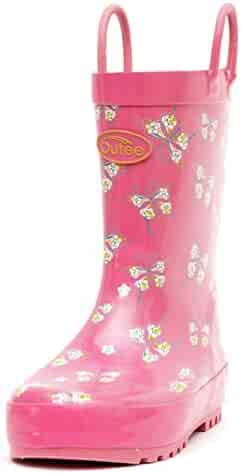 Outee Toddler Kids Rain Boots Rubber Waterproof Shoes Cute Printed with Easy-On Handles