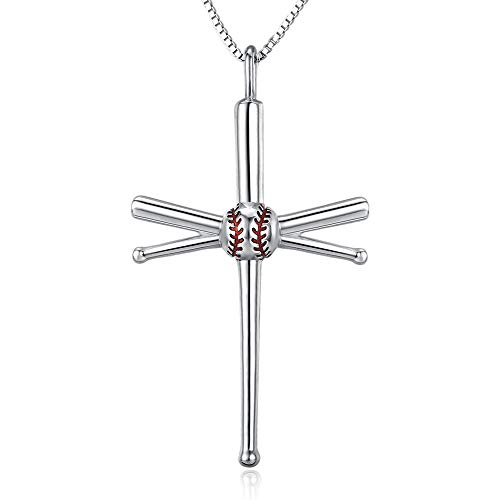 TANGPOET S925 Sterling Silver Baseball Pendant Necklace Silver Chain Father's Gift
