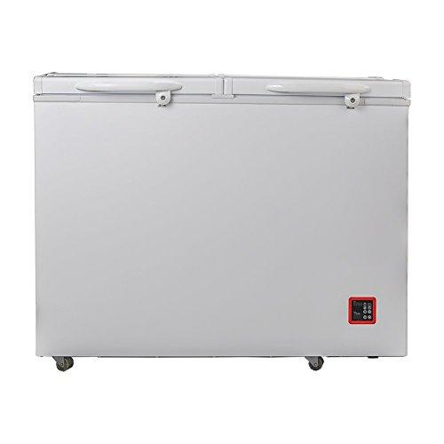 (SMETA 12V/24V Portable Solar Freezer DC Compressor Chest Freezer Double Doors with AC adapter,10.7 cu ft)