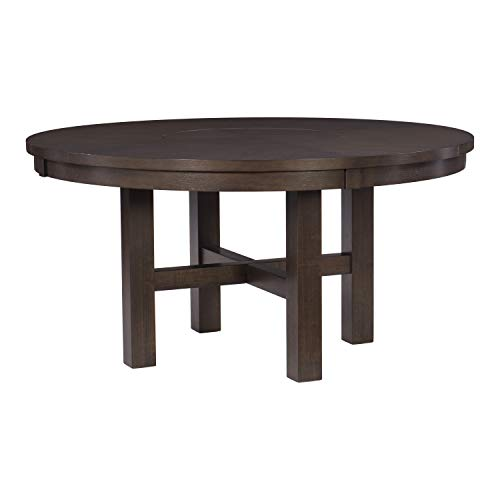 "Lexicon 60"" Round Dining Lazy Susan Table, Espresso"