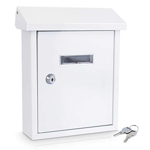 Locking Wall Mounted Mailbox - Wall Mount Lockable Mailbox - Modern Outdoor Galvanized Metal Key Large Capacity - Commercial Rural Home Decorative & Office Business Parcel Box Packages Drop Slot Secure Lock - Serenelife SLMAB01