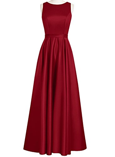 Homecoming Long Bridesmaid Neckline Stain Prom A AN121 Anlin Women Dress Round Burgundy Line 8nxXxzq4