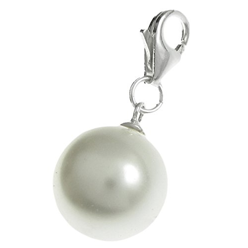 925 Sterling Silver Swarovski Elements White Crystal Pearl European Clip on Charm