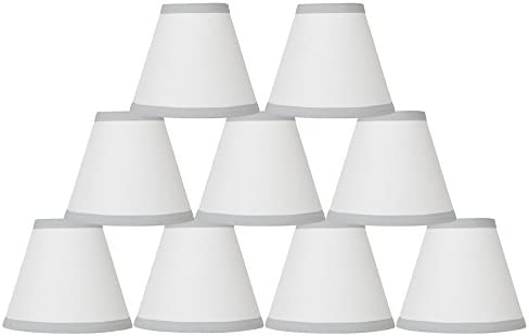 Urbanest Set of 9 Off White Cotton Chandelier Lamp Shade with Gray Trim, 3-inch by 6-inch by 5-inch, Clip-on, Hardback