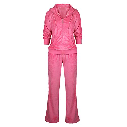 Urimoser Womens Velour Tracksuit Set Soft Sports Zip Up Hoodie and Sweat Pants 2 Pieces Sweatsuit (Coral, 2XL) ()