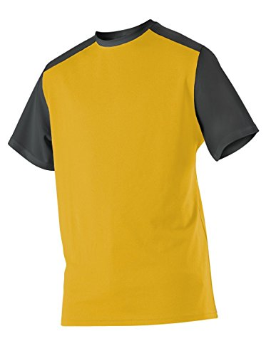 (Alleson Ahtletic Men's Mock mesh Baseball Jersey, Light Gold/Black, Large)