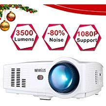 Projector, WiMiUS T4 3500 Lumens 5.8 Inch LCD Projector Support 200' Display Full HD 1080P 50,000 hours LED Video Projector,...