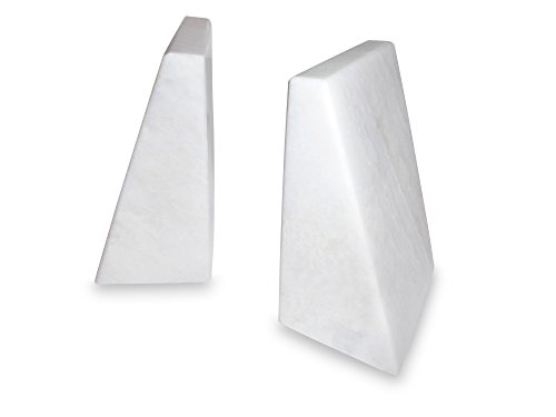 CreateConsciously Marble Bookends (White)